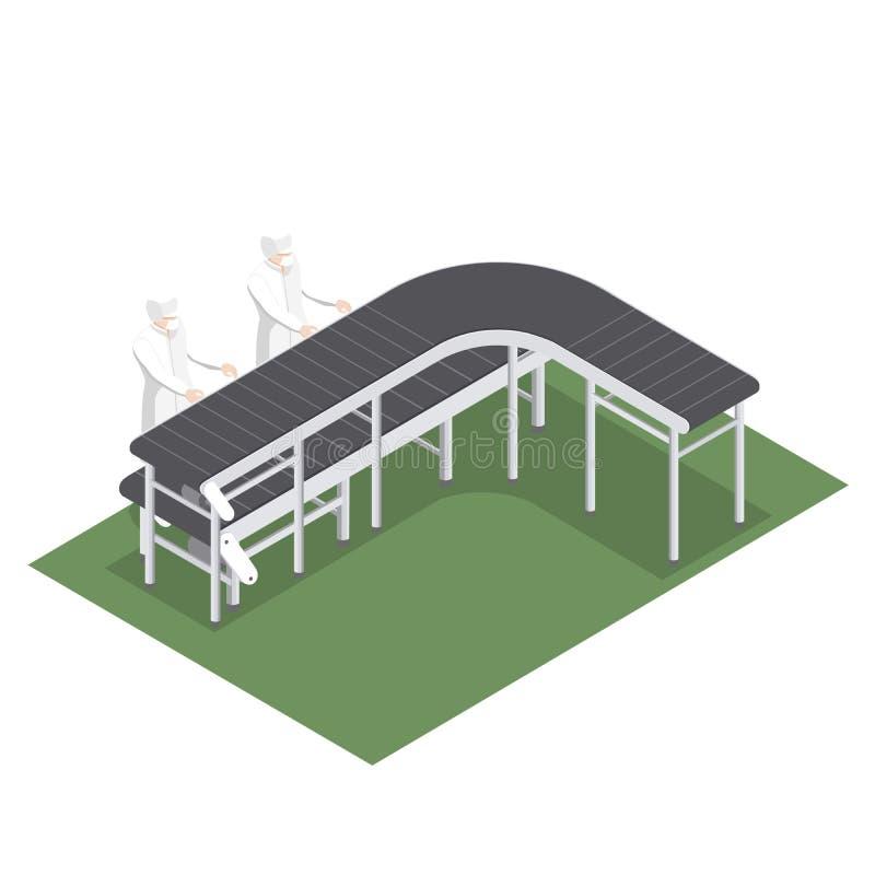Automatyzująca linia produkcyjna z konwejerów paskami dla wyboru produkty w przemysle spożywczym ilustracja wektor