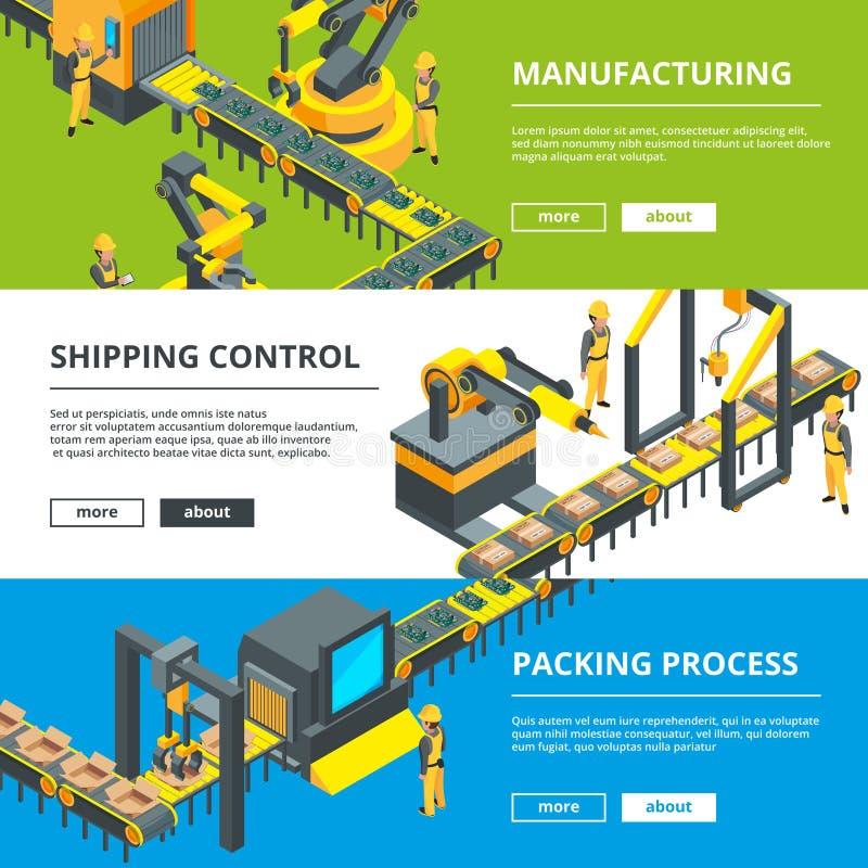 Automatyzująca przemysł linia Rękodzielnicza produkcja Wektorowi horyzontalni sztandary ilustracja wektor