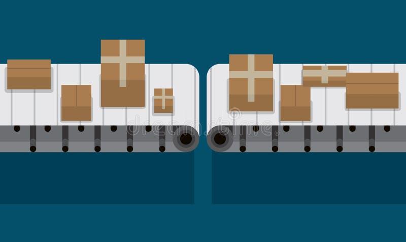 Automatyzujący konwejeru pasek przy fabryczną wektorową ilustracją ilustracja wektor