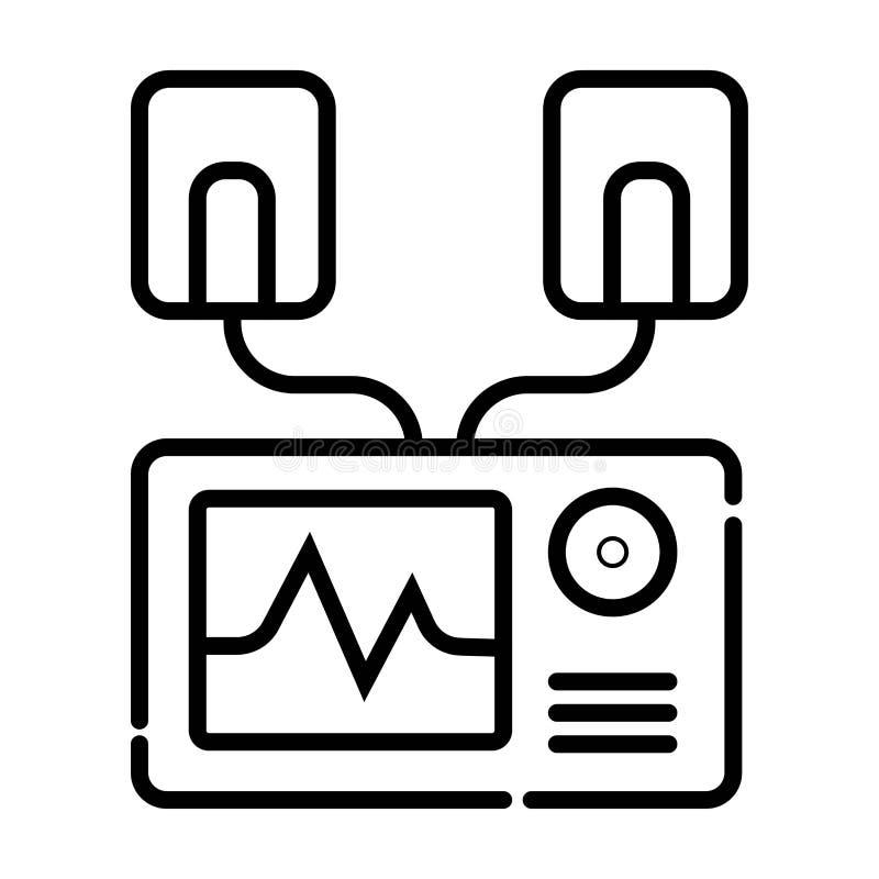 Automatyzujący zewnętrznie defibrillator ikony wektor, wypełniający mieszkanie znak, royalty ilustracja