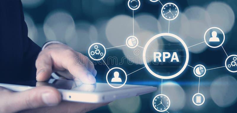 Automazione di processi RPA-robot Concetto di tecnologia immagini stock