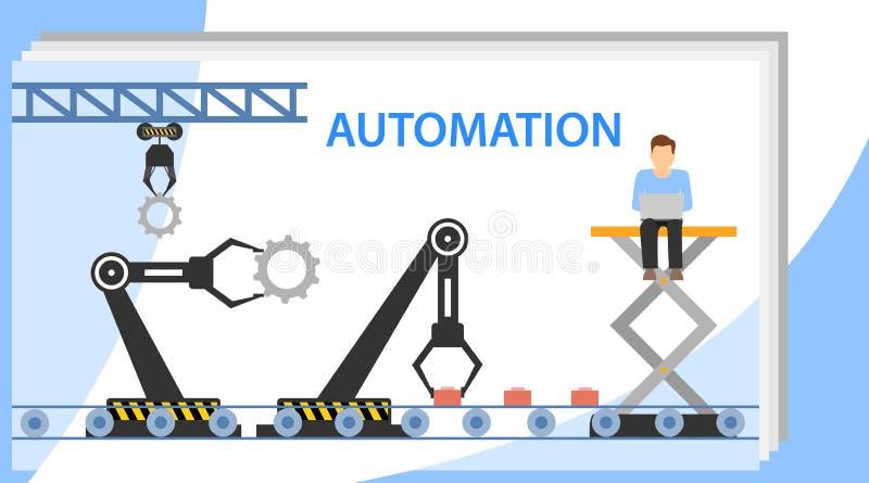 Automazione di produzione Illustrazione di vettore di automazione delle risorse umane Lavoro minuscolo piano della persona illustrazione di stock