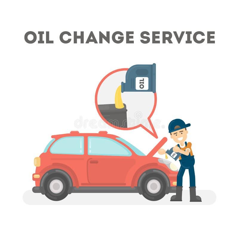 Automechaniker im einheitlichen Änderungsöl an der Autotankstelle vektor abbildung