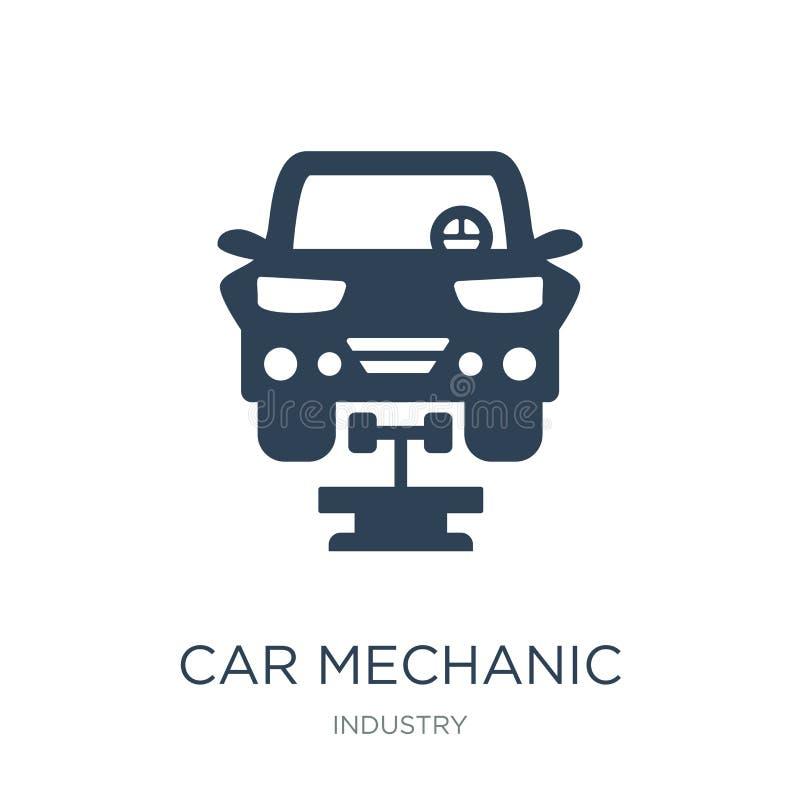Automechanikerikone in der modischen Entwurfsart Automechanikerikone lokalisiert auf weißem Hintergrund Automechaniker-Vektorikon vektor abbildung