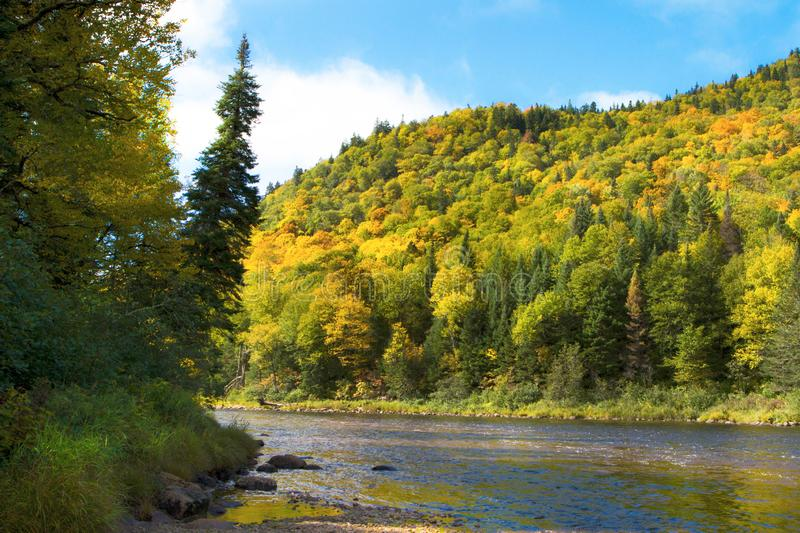 Jaques Cartier river in quebec Canada. Automn view of the Jacques Cartier river in Quebec Canada royalty free stock photos