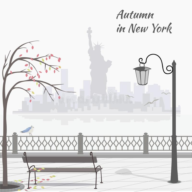 Automne à New York Illustration avec le remblai et sityscape avec la statue de la liberté illustration de vecteur