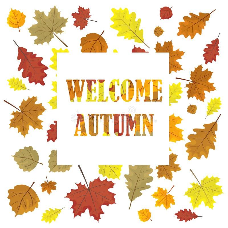Automne bienvenu Bannière de ventes avec des feuilles Panneau de saison de conception de vente de vecteur de feuilles Illustratio illustration stock