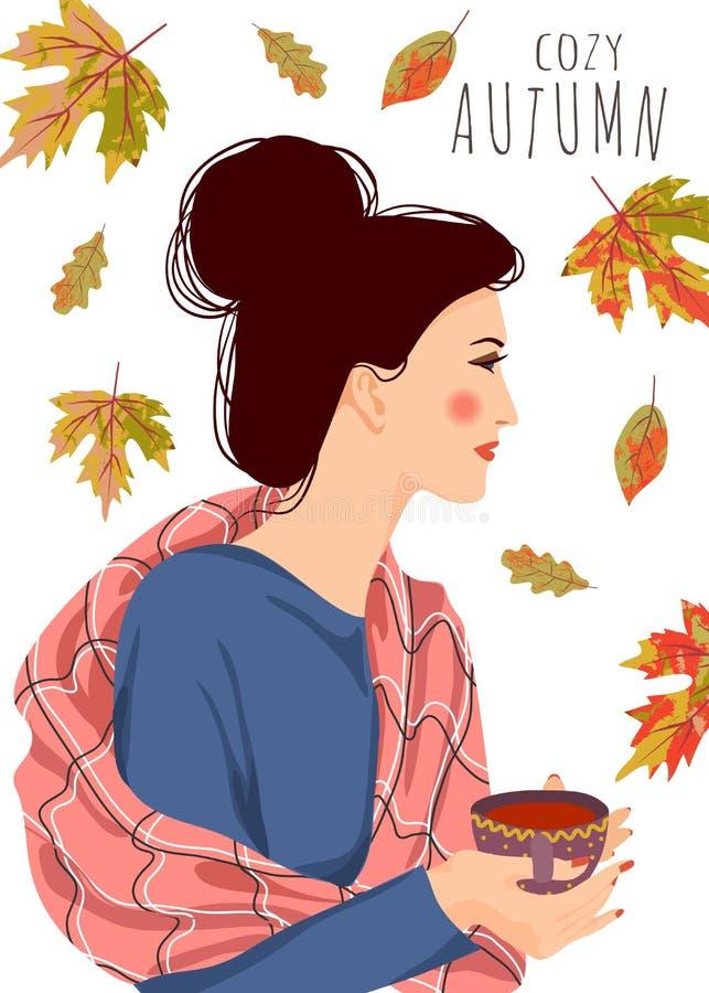 Automne confortable Illustration mignonne de vecteur de femme avec une tasse de thé et les feuilles en baisse sur un fond blanc illustration stock