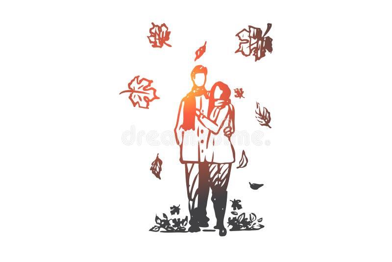Automne, couple, amour, chute, concept romantique Vecteur d'isolement tiré par la main illustration stock