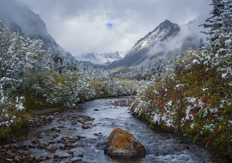 Automne dans les portées supérieures de la rivière en montagnes images stock