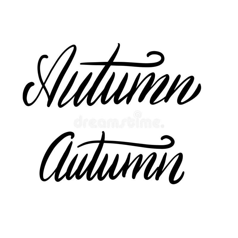 Automne manuscrit de mot Mot à l'encre noire de calligraphie d'isolement sur le fond blanc Conception de typographie de vecteur p illustration libre de droits