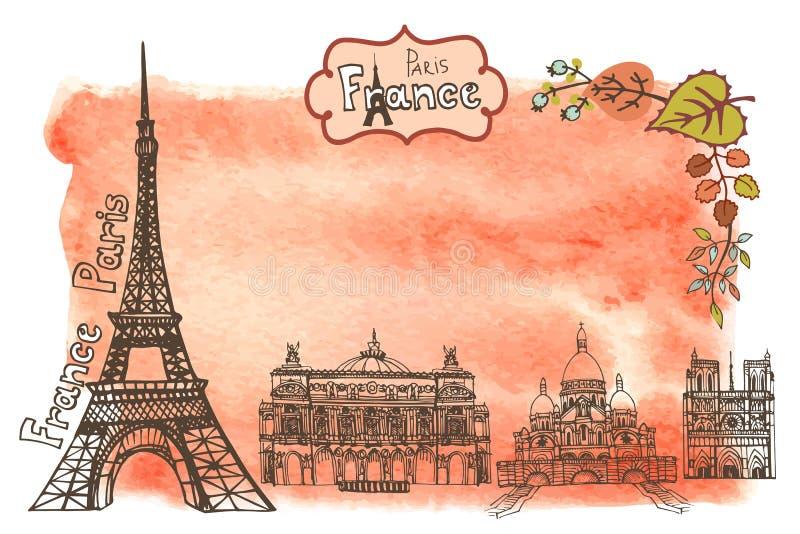 Automne Paris Points de repère, feuilles, éclaboussure d'aquarelle illustration stock