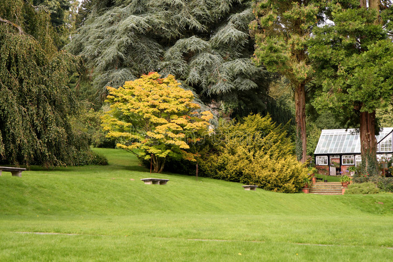 Automne tôt dans un jardin anglais de pays photographie stock