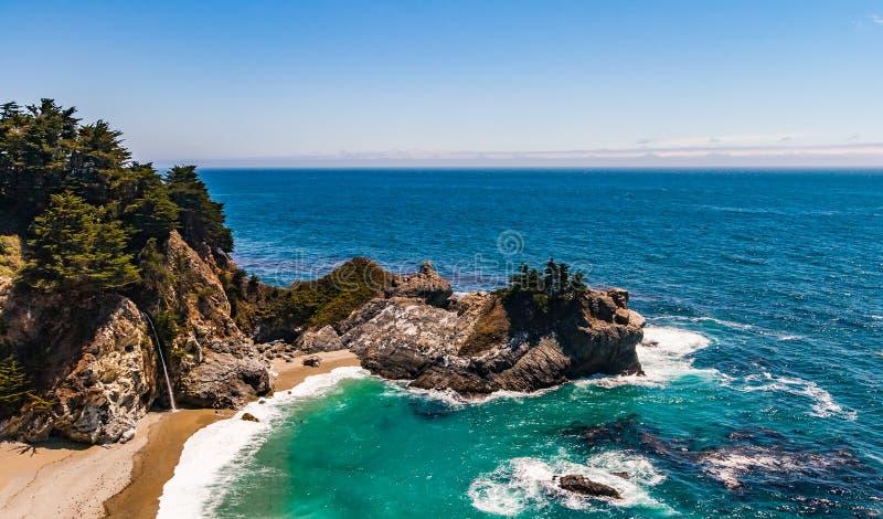 Automnes de McWay Big Sur, la Californie, Etats-Unis images libres de droits