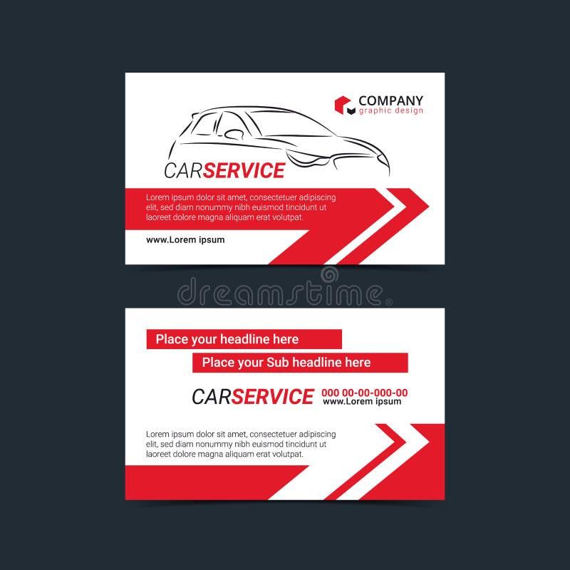 Automobiel de lay-outmalplaatjes van de Dienstadreskaartjes Creeer uw eigen adreskaartjes vector illustratie