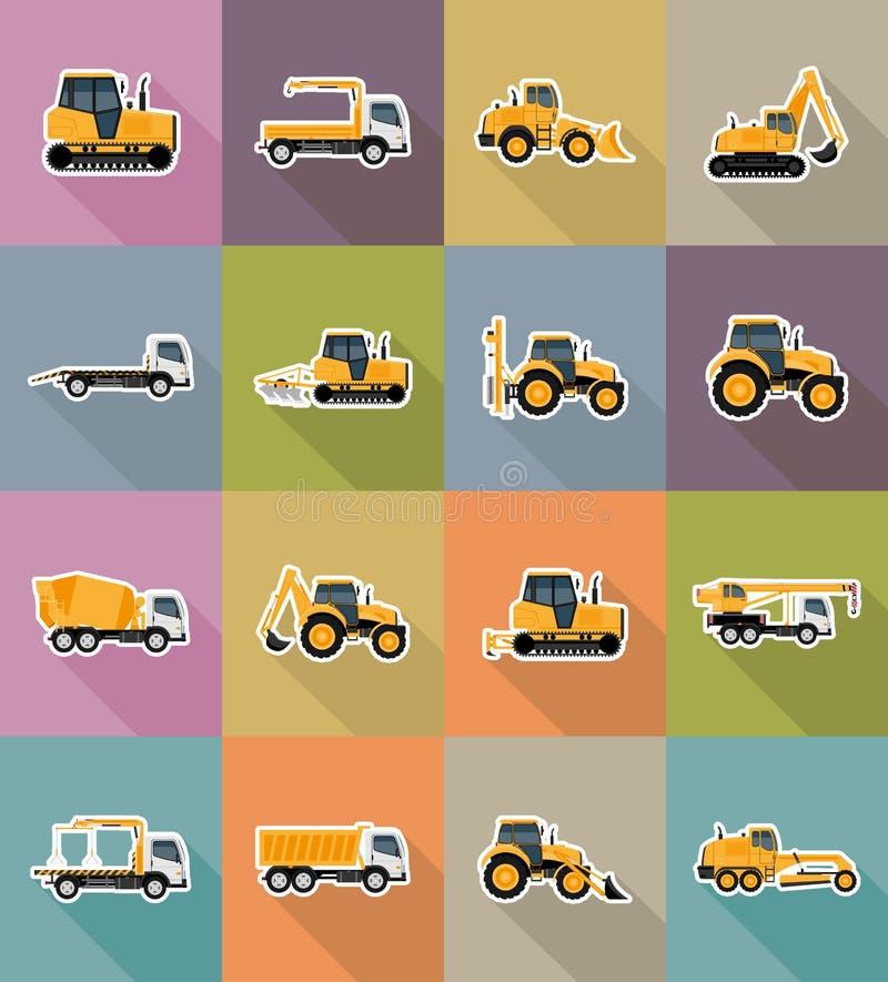 Automobiel vervoer voor reparatie en bouw vlakke pictogrammen vect vector illustratie