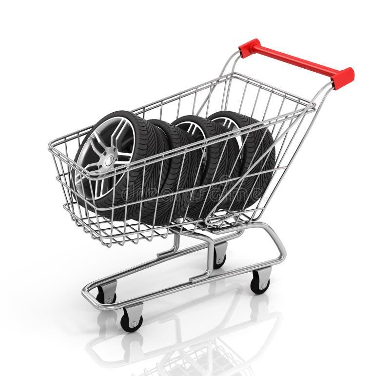 Automobiel wielen en boodschappenwagentje stock illustratie