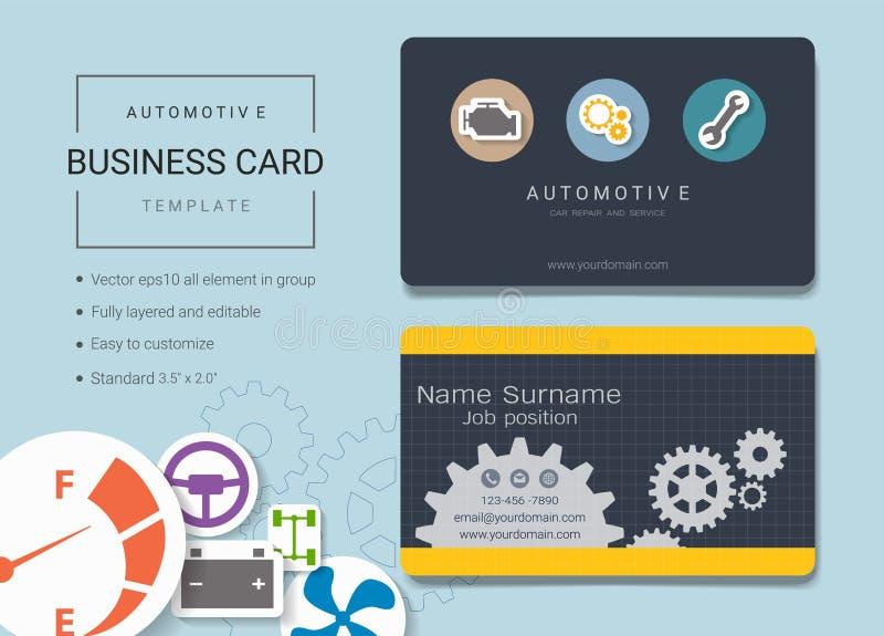 Automobieladreskaartje of van de naamkaart malplaatje stock illustratie