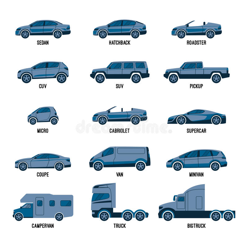 Automobiele geïsoleerde reeks Automodellen van verschillende grootte of mogelijkheden royalty-vrije illustratie