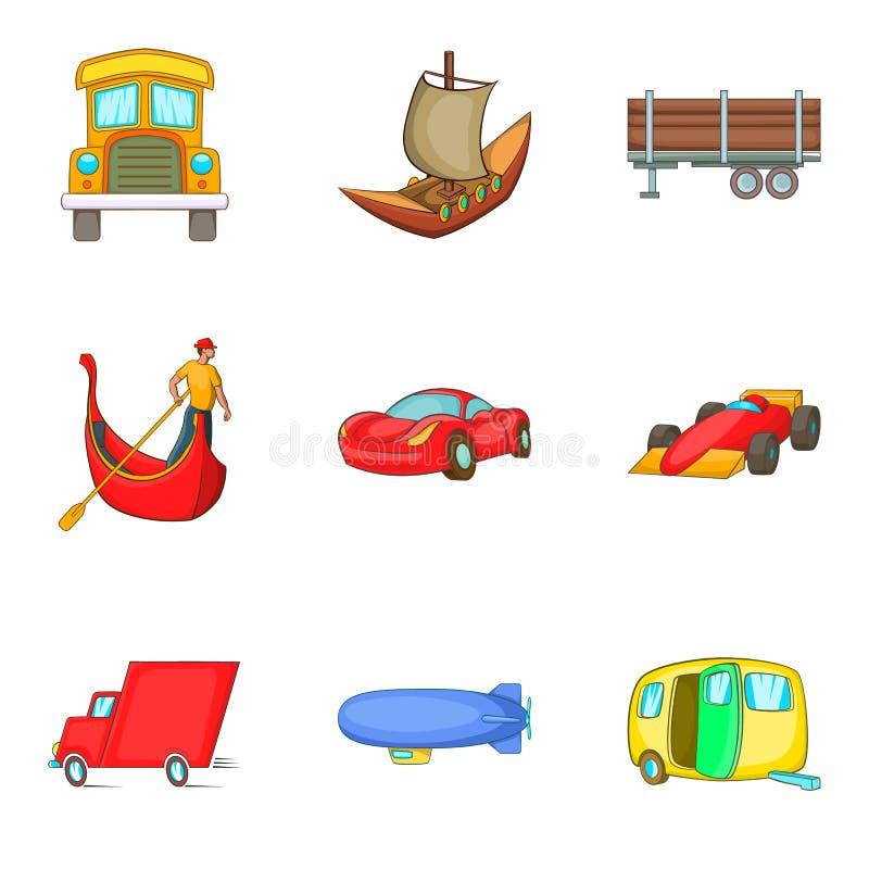 Automobiele geplaatste pictogrammen, beeldverhaalstijl stock illustratie