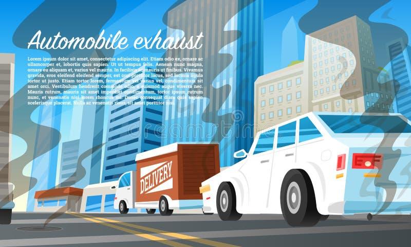 Automobiele uitlaatluchtvervuiling Milieu probleem Ecologische catastrofe, het vergiftigen van aard Giftige Koolstof royalty-vrije illustratie