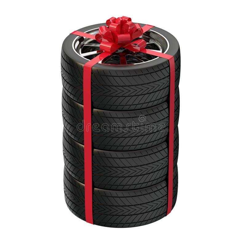 Automobiele wielen als gift Gift voor een mens 3D Illustratie stock illustratie