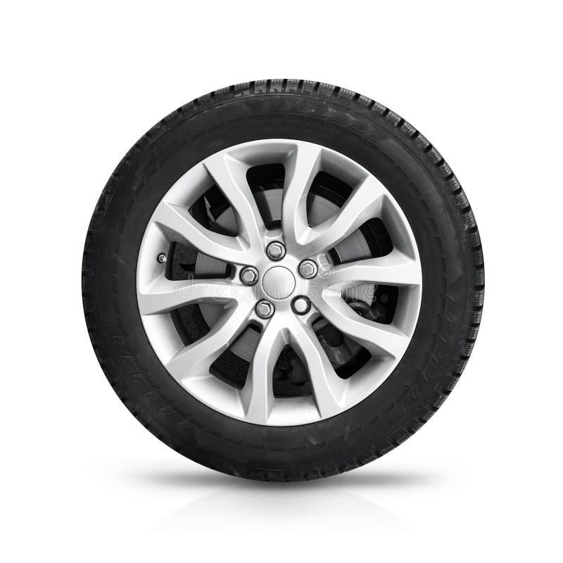 Automobielwiel op grijze lichte geïsoleerde legeringsschijf royalty-vrije stock foto