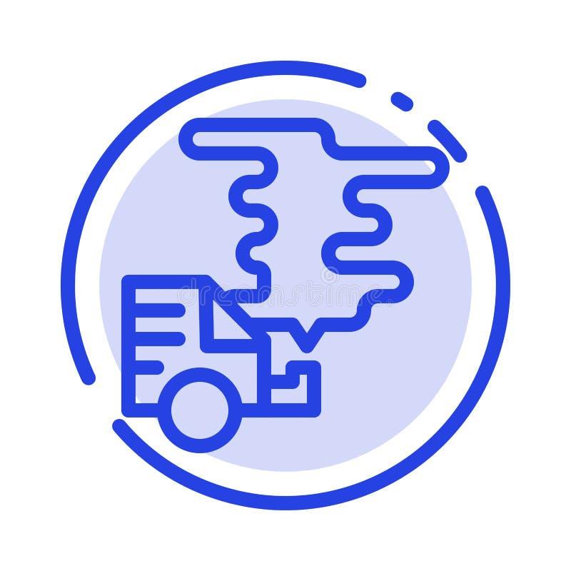 Automobil, Auto, Emission, Gas, Linie Ikone der Verschmutzungs-blauen punktierten Linie vektor abbildung