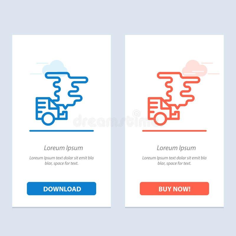 Automobil, Auto, Emission, Gas, Verschmutzungs-Blau und rotes Download und Netz Widget-Karten-Schablone jetzt kaufen stock abbildung