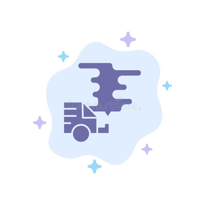 Automobil, Auto, Emission, Gas, Verschmutzungs-blaue Ikone auf abstraktem Wolken-Hintergrund vektor abbildung
