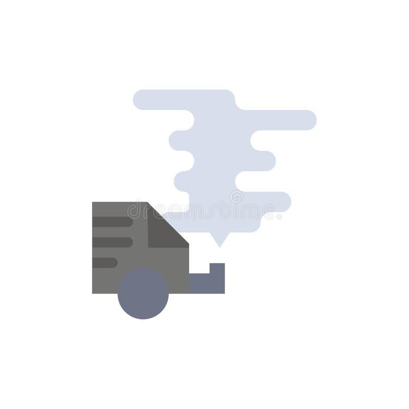 Automobil, Auto, Emission, Gas, Verschmutzungs-flache Farbikone Vektorikonen-Fahne Schablone lizenzfreie abbildung