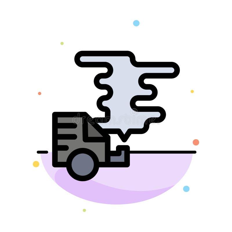 Automobil, Auto, Emission, Gas, Verschmutzungs-Zusammenfassungs-flache Farbikonen-Schablone stock abbildung