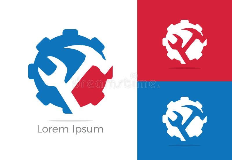 Automobil, Autoreparaturservice-Logodesign, Schlüssel in der Gangikone, Mechaniker bearbeitet Vektorillustration lizenzfreie abbildung