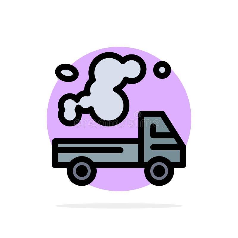 Automobil, LKW, Emission, Gas, flache Ikone Farbe Verschmutzungs-des abstrakten Kreis-Hintergrundes lizenzfreie abbildung