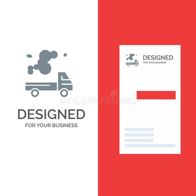 Automobil, LKW, Emission, Gas, Verschmutzung Grey Logo Design und Visitenkarte-Schablone vektor abbildung