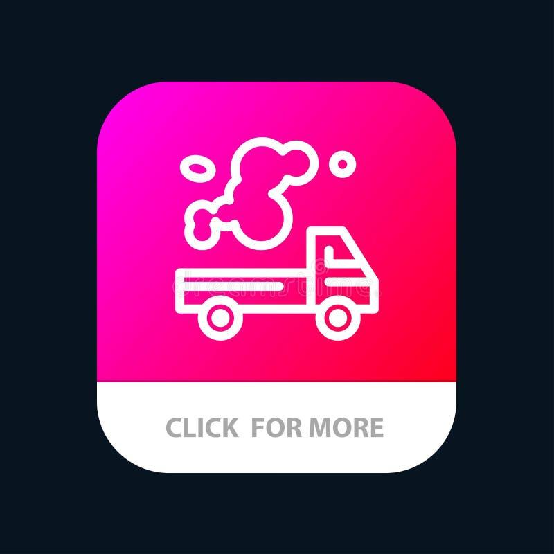 Automobil, LKW, Emission, Gas, Verschmutzung mobiler App-Knopf Android und IOS-Linie Version lizenzfreie abbildung