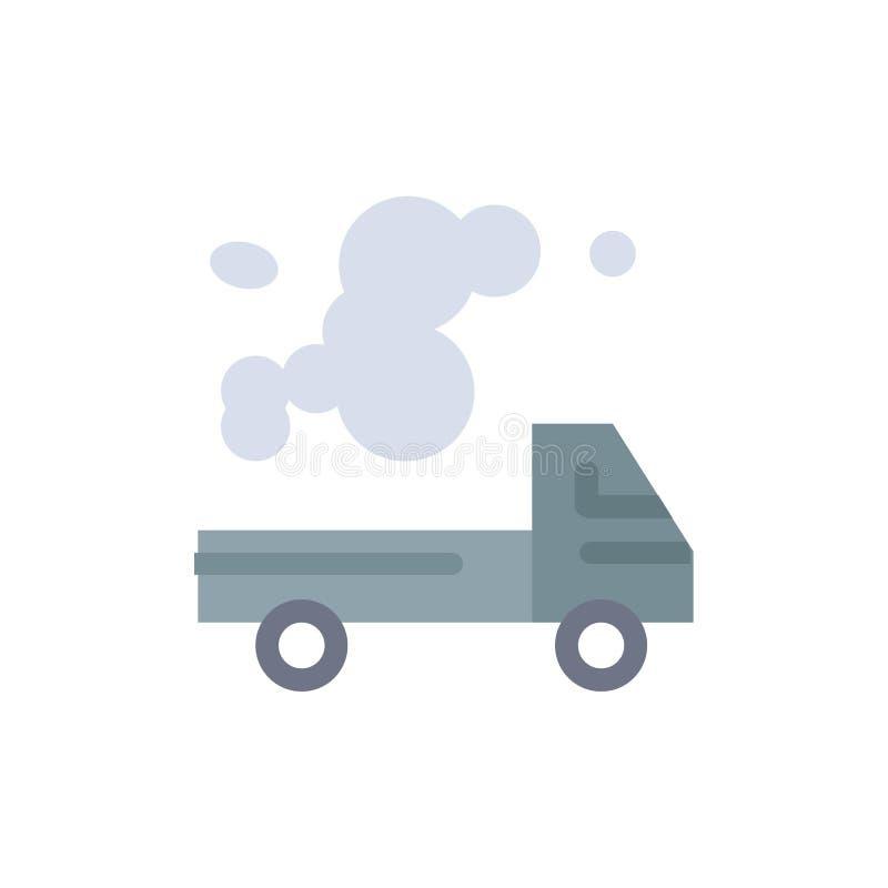 Automobil, LKW, Emission, Gas, Verschmutzungs-flache Farbikone Vektorikonen-Fahne Schablone lizenzfreie abbildung