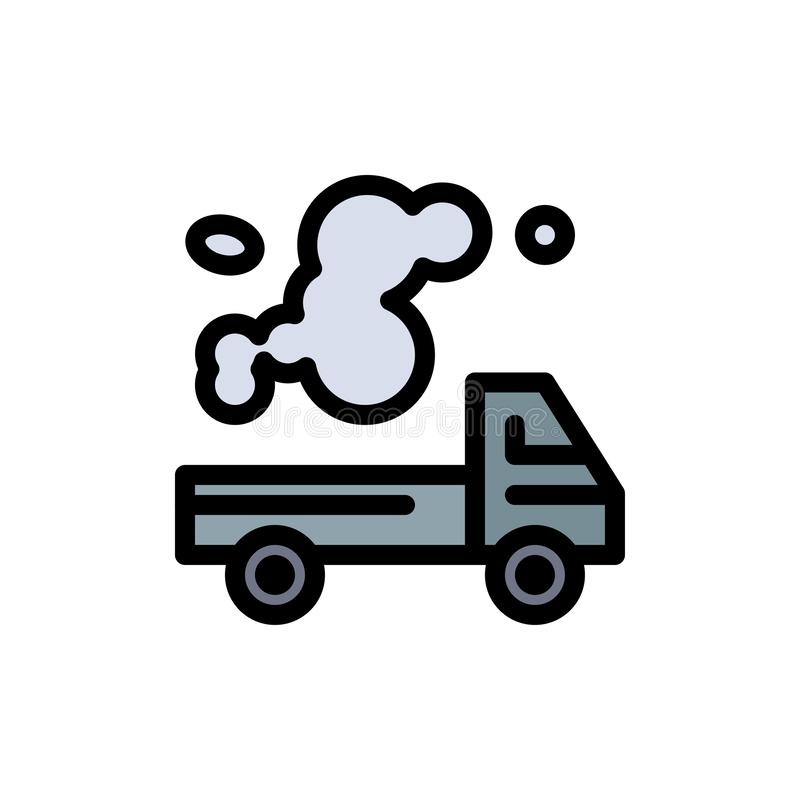 Automobil, LKW, Emission, Gas, Verschmutzungs-flache Farbikone Vektorikonen-Fahne Schablone stock abbildung