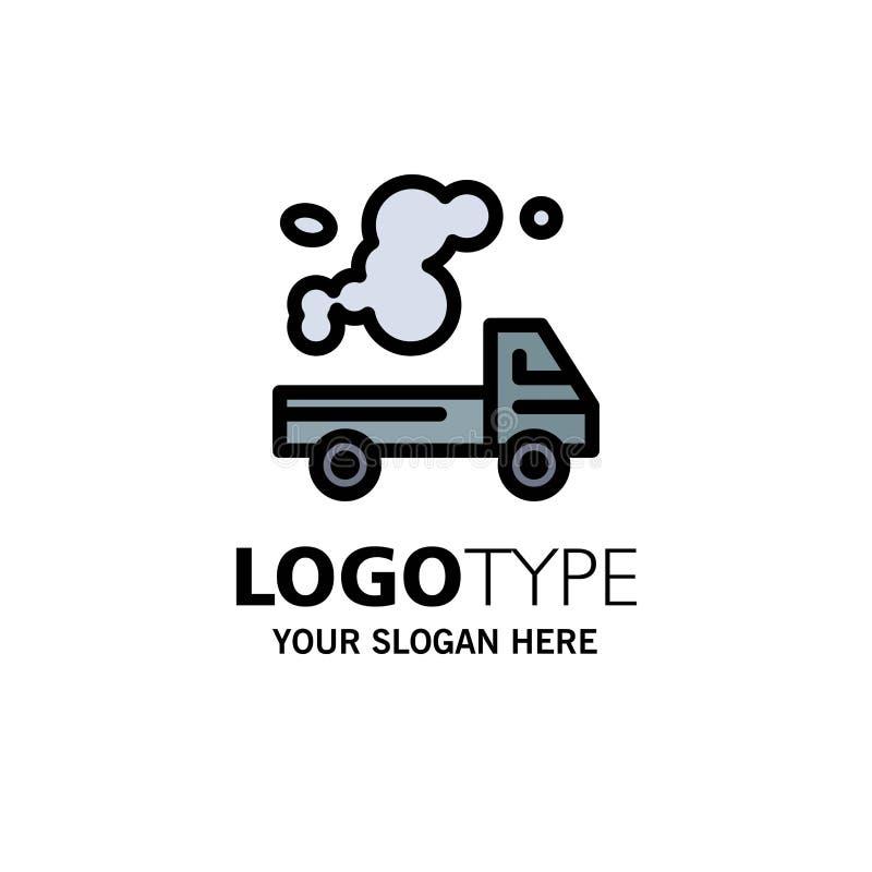 Automobil, LKW, Emission, Gas, Verschmutzungs-Geschäft Logo Template flache Farbe lizenzfreie abbildung