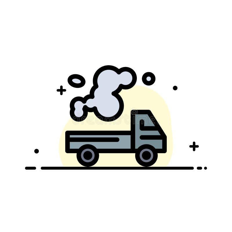 Automobil, LKW, Emission, Gas, Verschmutzungs-Geschäfts-flache Linie füllte Ikonen-Vektor-Fahnen-Schablone stock abbildung