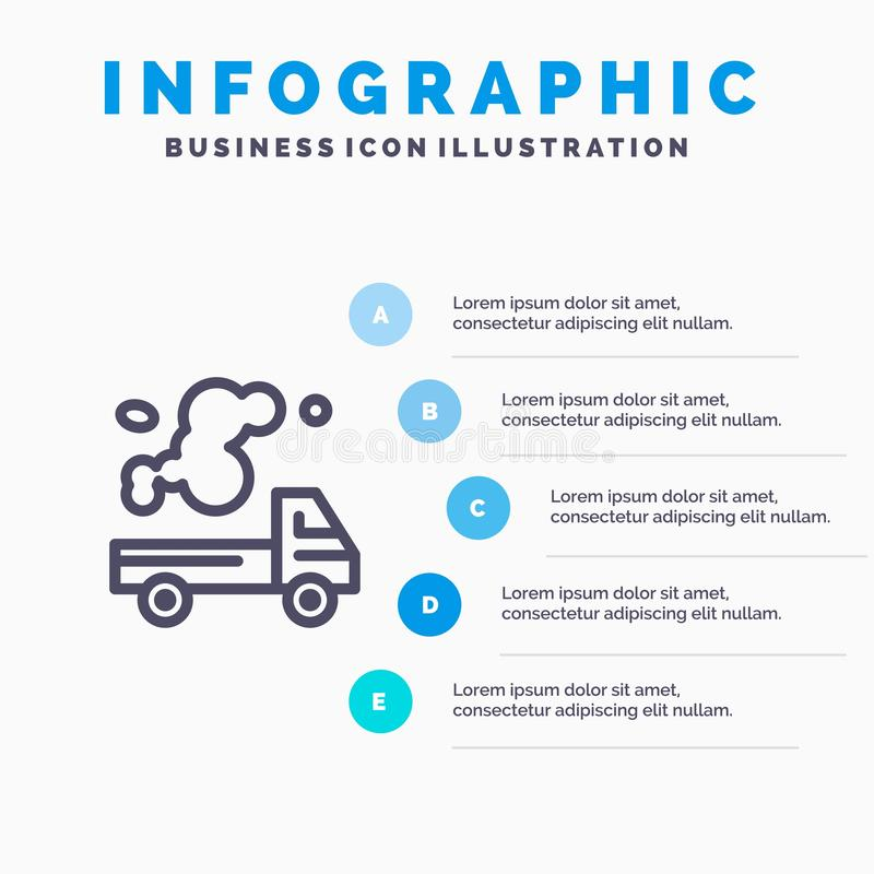 Automobil, LKW, Emission, Gas, Verschmutzungs-Linie Ikone mit Hintergrund infographics Darstellung mit 5 Schritten stock abbildung
