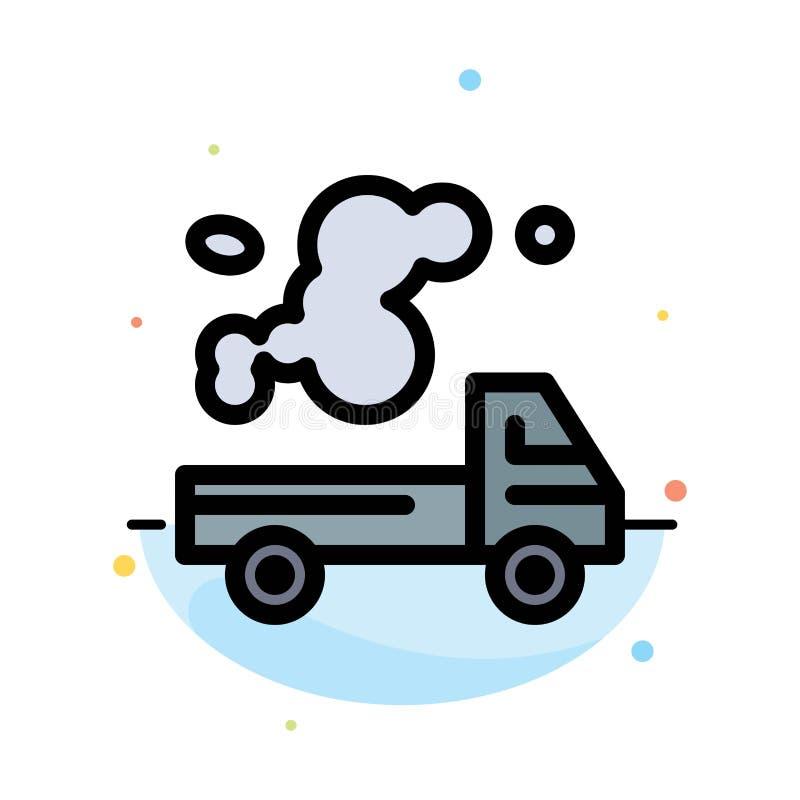 Automobil, LKW, Emission, Gas, Verschmutzungs-Zusammenfassungs-flache Farbikonen-Schablone vektor abbildung