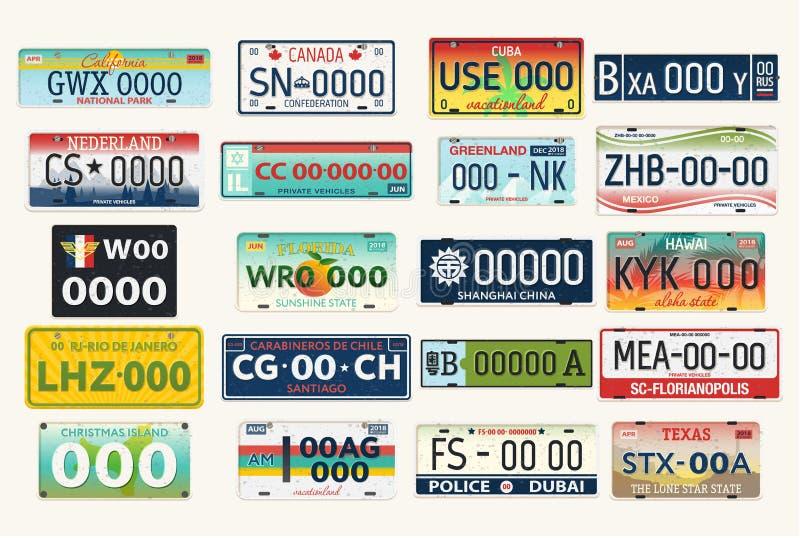 Automobil- oder Autofahrzeugamtliche kennzeichen lizenzfreie abbildung