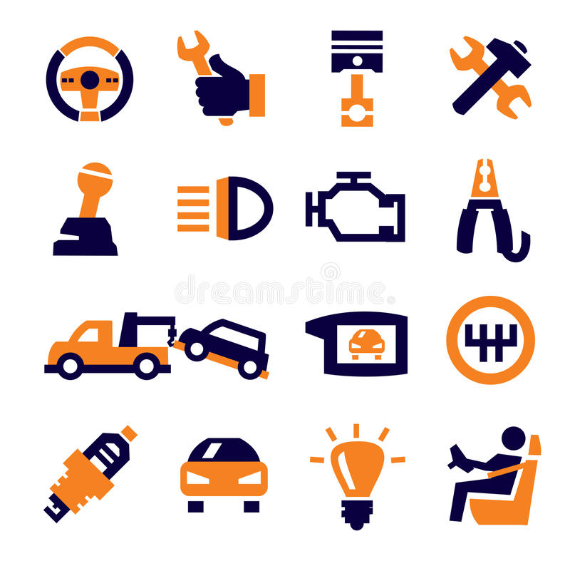 Automobil und Reparatur lizenzfreie abbildung