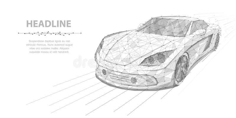 Automobile Automobile ad alta velocità di moto del wireframe poligonale di vettore isolata sull'illustrazione bianca sottragga la illustrazione vettoriale