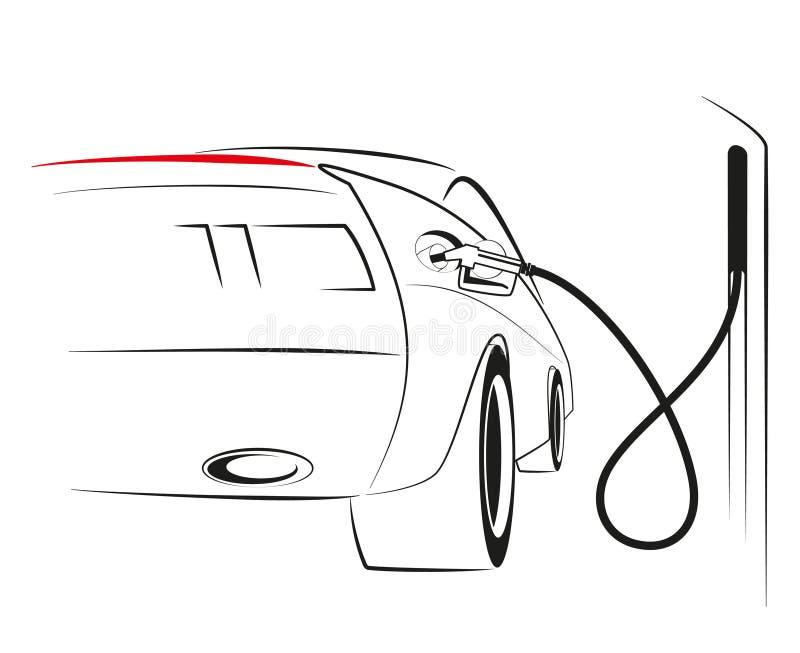 Automobile ad una stazione di servizio royalty illustrazione gratis