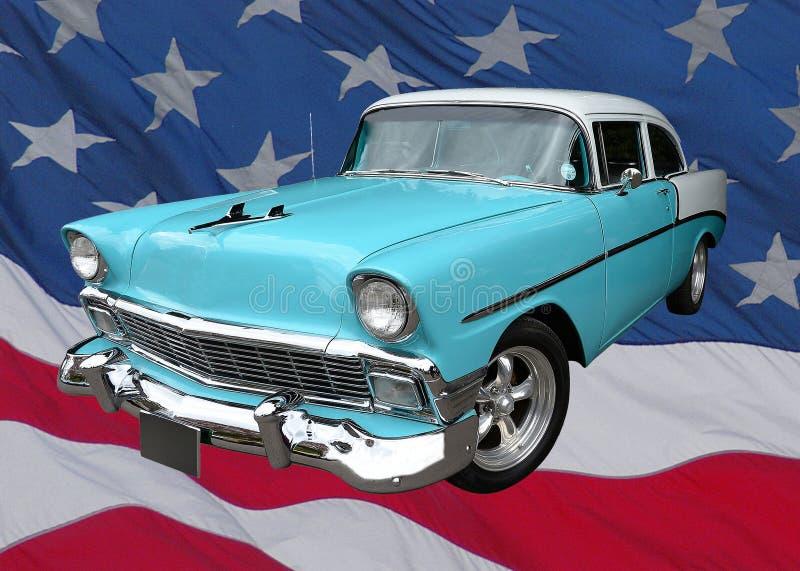 Automobile americana classica sulla bandiera immagini stock libere da diritti