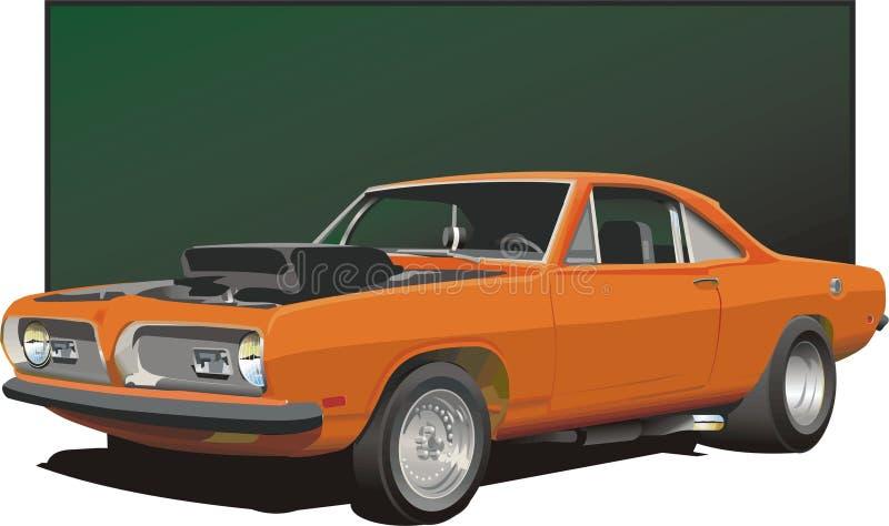 Automobile arancione del muscolo illustrazione vettoriale