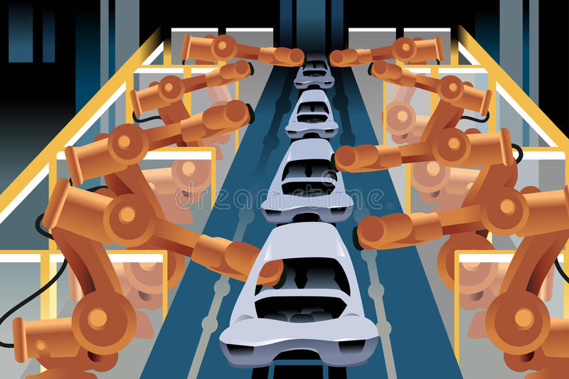Automobile assembly line. A vector illustration of automobile assembly line vector illustration