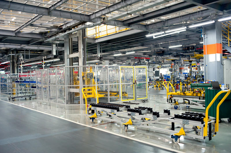 Automobile assembly shop production line royalty free stock images